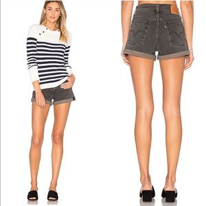 Levi's | High Waisted wedgie fit grey cuff shorts